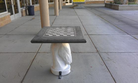 Post Consumer Glass Chess Table